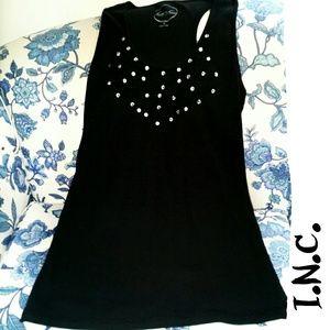 INC black XL embellished neck tank top